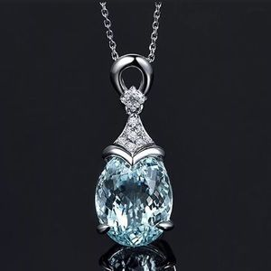 .925 Sterling Silver Aquamarine Fashion Necklace